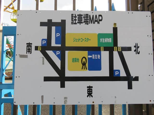 華蔵寺公園遊園地付近の駐車場案内地図
