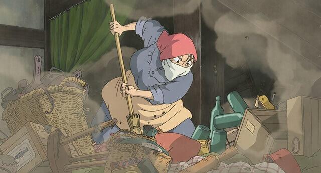 【ハウルの動く城】のシーン・掃除をするソフィー